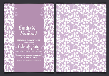Vector Watercolor Wedding Invitation with Purple Branches - бесплатный vector #436435