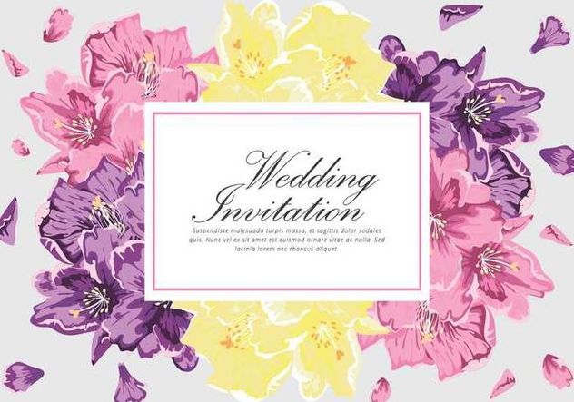 Rhododendron Invitation Vector Card - vector #436465 gratis