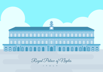 Royal Palace of Naples Building Vector Illustration - Kostenloses vector #436475