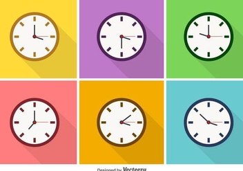 Vector Colorful Clock Icons - Kostenloses vector #436555