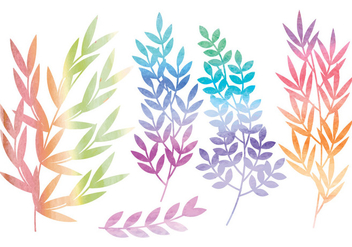Vector Watercolor Branches and Floral Set - vector gratuit #436625