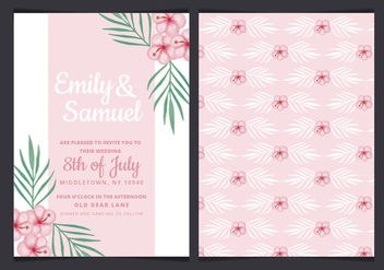 Vector Tropical Wedding Invitation - бесплатный vector #436655