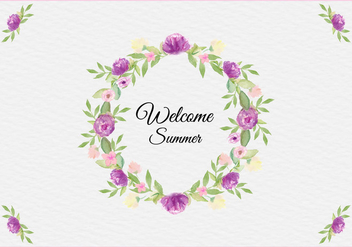 Free Vector Summer Illustration With Watercolor Floral Frame - Free vector #436745