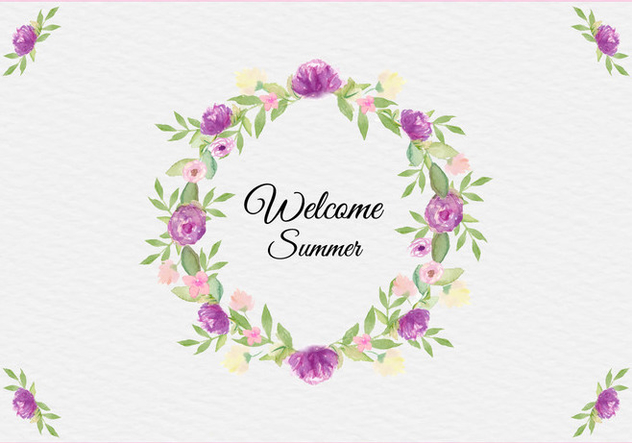 Free Vector Summer Illustration With Watercolor Floral Frame - Kostenloses vector #436745