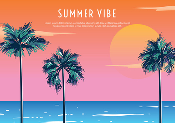 Palmetto Summer Sunset Free Vector - бесплатный vector #436805