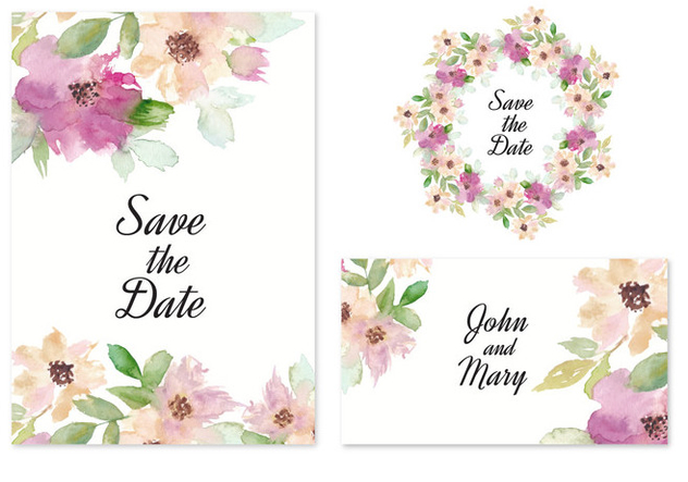 Free Vector Save The Date Invitation With Watercolor Flowers - Free vector #436815