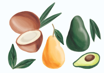 Vector Hand Drawn Avocado, Pear and Coconut - бесплатный vector #436875