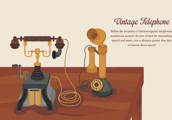 Classic Vintage Gold Telephone Vector Illustration - Free vector #436915