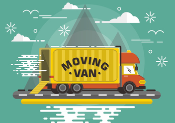 Flat Moving Van Vector Design - бесплатный vector #437025