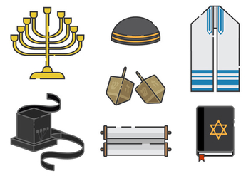 Tefillin And Jewish Vector Elements - Free vector #437075