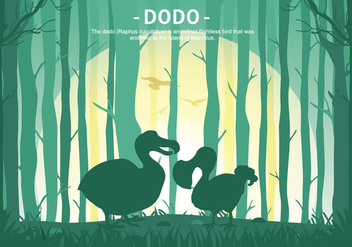 Dodo Cartoon Forest Silhouette Vector Illustration - Free vector #437095