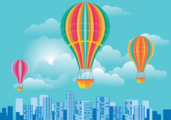 Colorful Hot Air Balloon and Clouds over Skyline Vector - Free vector #437175