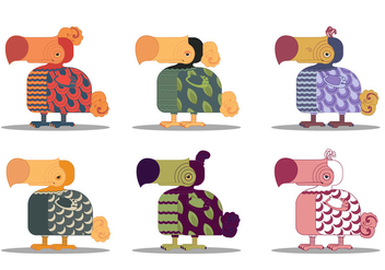 Dodo Bird Animal Cartoon Character Vector Set - vector gratuit #437315