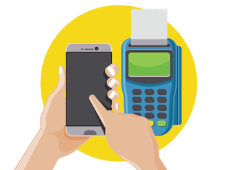Man Pay by NFC on Smart Phone - Free vector #437445