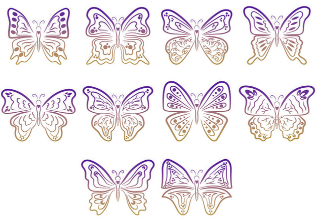 Set Of Mariposa Symbols - vector #437635 gratis