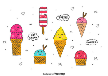 Cartoon Ice Cream Set - vector gratuit #437655