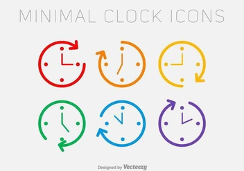 Vector Line Clock Icons - vector #437665 gratis