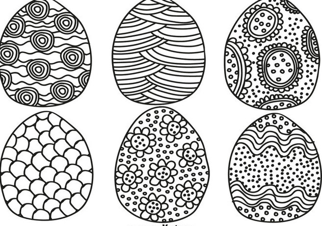 Vector Hand Drawn Easter Eggs For Spring Season - vector gratuit #437675