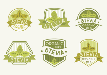 Fresh Green Stevia Label Vector Illustration - Free vector #437825