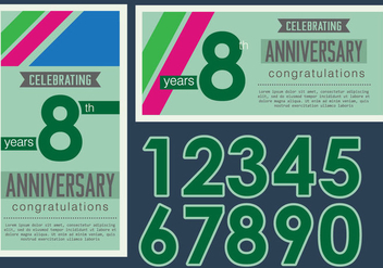 Vintage Anniversary card - Free vector #437845