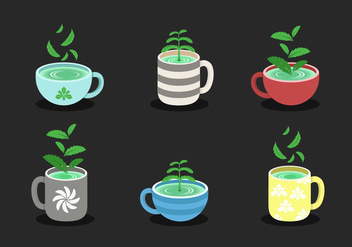 Stevia With Cup Vector Collection - бесплатный vector #437855