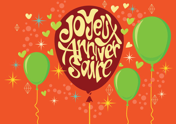 Carte Joyeux Anniversaire with Balloons and Stars - Free vector #437865
