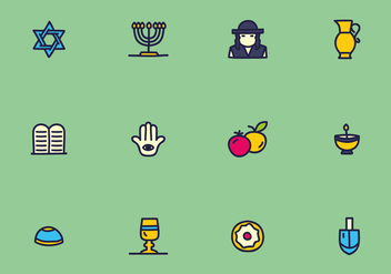 Colorful Judaism Icons Vectors - Free vector #437885