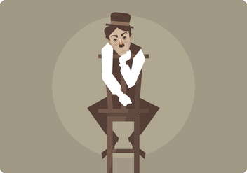 Charlie Chaplin Siting in The Chair Vector - бесплатный vector #437945