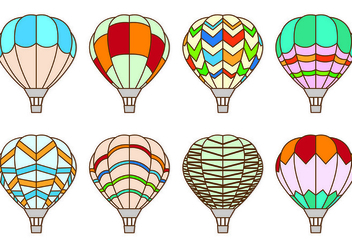 Set Of Hot Air Balloon Vectors - vector gratuit #437955