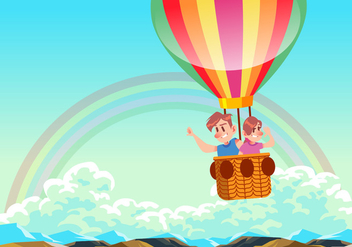 Kids Riding A Hot Air Balloon Vector - Free vector #437985