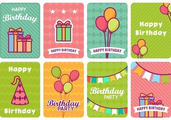Fun Colorful Birthday Card Vector s - vector gratuit #438045