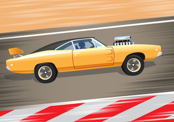 Yellow Sport Dodge Charger 1970 - vector #438085 gratis