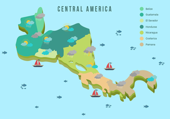 Central America Map With Weather Vector Illustration - Free vector #438145