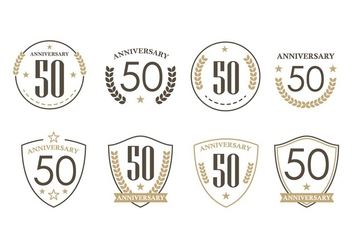 50th Years Anniversary Badges - бесплатный vector #438185