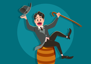 Charlie Chaplin Sits On A Barrel - Kostenloses vector #438195