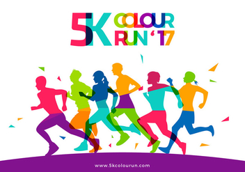 5K Color Run Template Free Vector - Free vector #438275
