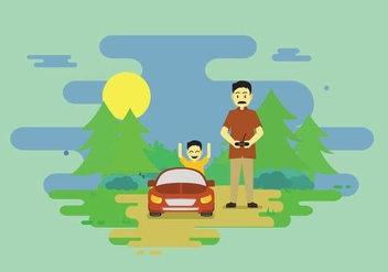 Dad And Child Playing RC Car Illustration - Kostenloses vector #438345