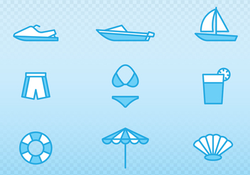 Holiday And Summer Outline Icons - vector gratuit #438415