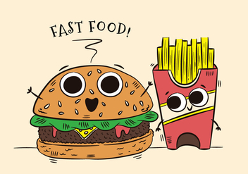 Cute Burger And Fries Character Fast Food - Free vector #438615