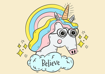 Cute Unicorn With Glasses And Rainbow - Free vector #438625