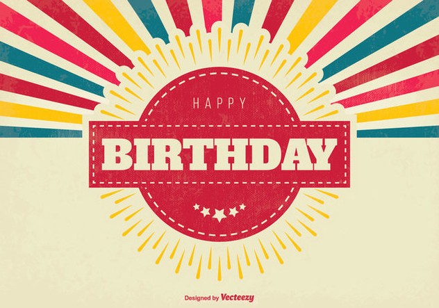 Colorful Retro Happy Birthday Illustration - Free vector #438635