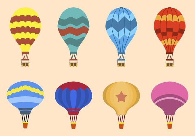 Flat Hot Air Balloon Vectors - Free vector #438675