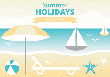 Free Summer Vacation Vector Greeting Card - vector gratuit #438745