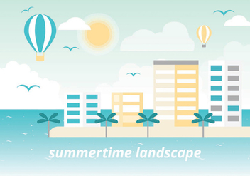 Free Summer Vacation Vector Landscape - Free vector #438755