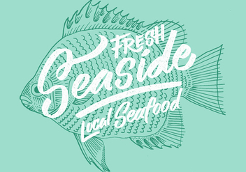 Fresh Local Seafood Fish Design - vector gratuit #438785