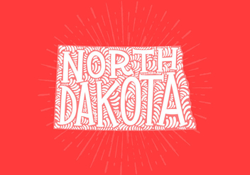 North Dakota state lettering - vector gratuit #438845
