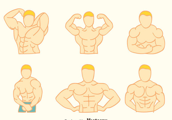 Hand Drawn Body Building Vectors - vector gratuit #439285