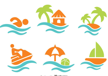 Beach Vacation Element Vectors - бесплатный vector #439295
