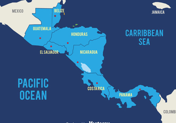Blue Central America Map Vector - бесплатный vector #439305