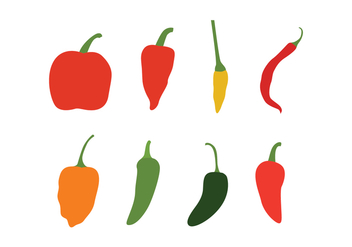 Different Chili Peppers Vector Pack - Free vector #439325